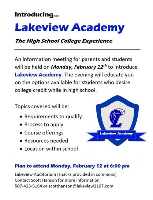 Lakeview Academy Flyer